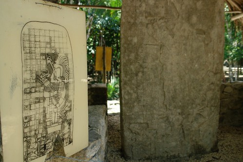 Estela de piedra con inscripciones junto a la famosa que esconde el tesoro del mundo Maya, su calendario que augura que el mundo acabará el 21 de diciembre de 2012. He de decir que el calendario original que se encontró en Cobá está actualmente en el museo de antropología, aquí hay una réplica .. pero cierto es que se encontró aquí en Cobá. cobá, la apocalíptica ciudad del fin del mundo - 5477301012 784d8be847 - Cobá, la apocalíptica ciudad del fin del mundo