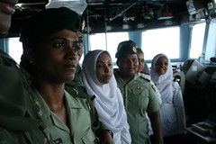 MALDIVES (Feb. 26, 2011) The guided-missile destroyer USS Higgins (DDG 76) hosts a women's outreach group from Maldives National Defense Force (MNDF) during a tour of the ship, which included an open discussion and lunch. Higgins is in Maldives to conducted exercises with the MNDF to strengthen maritime security, diplomatic and bilateral relations between Maldives and the United States. (U.S. Navy photo by Fire Controlman 3rd Class James Lamping)