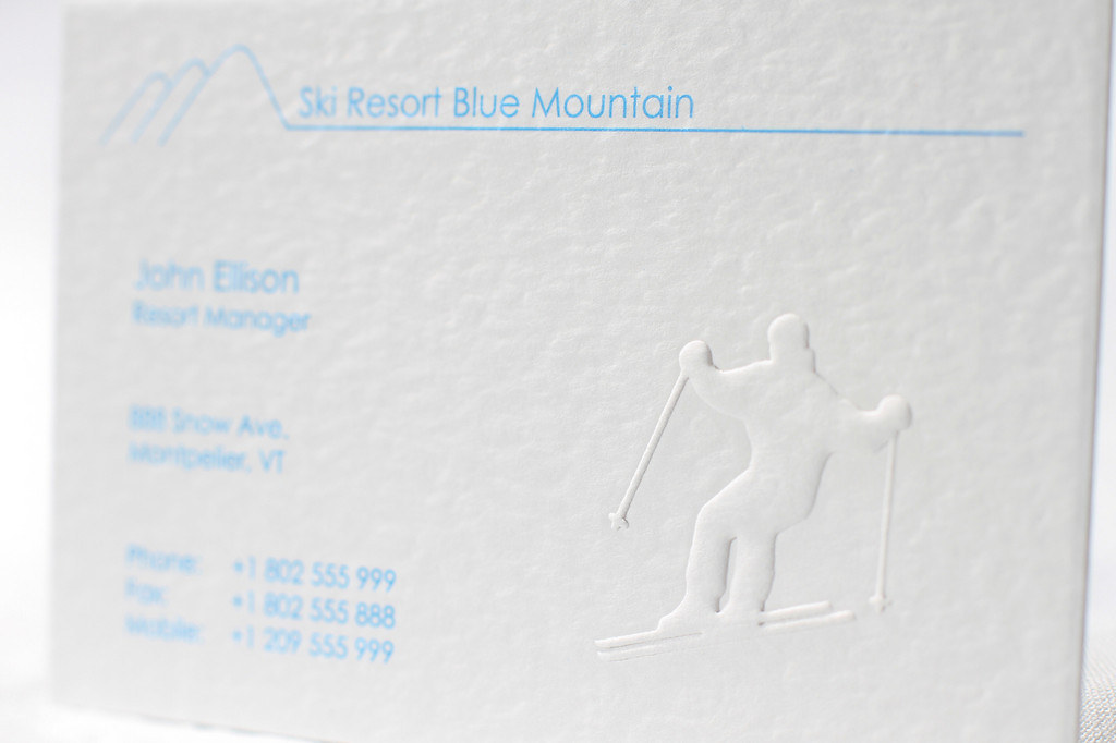 Business Card Visitenkarte Embossed Geprägt Ski Flickr