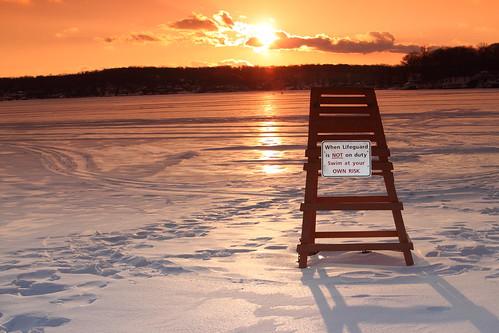 winter sunset lake snow ice beach lifeguard filter tamron2875 lakehopatcong