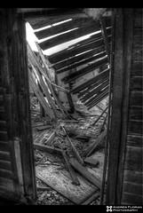 Abandoned house inside b&w