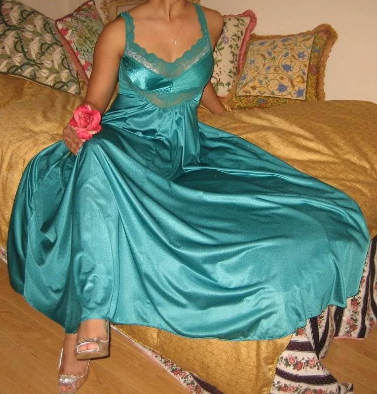Wearing my Green satin olga nightgown - a photo on Flickriver