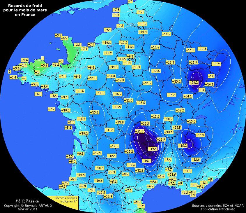 records de froid des températures minimales pour le mois de mars en France Reynald ARTAUD météopassion