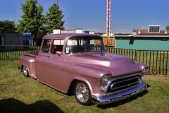 1957 chevrolet(0.0), compact car(0.0), hot rod(0.0), antique car(0.0), sedan(0.0), automobile(1.0), automotive exterior(1.0), pickup truck(1.0), vehicle(1.0), truck(1.0), chevrolet advance design(1.0), vintage car(1.0), land vehicle(1.0), luxury vehicle(1.0), motor vehicle(1.0),