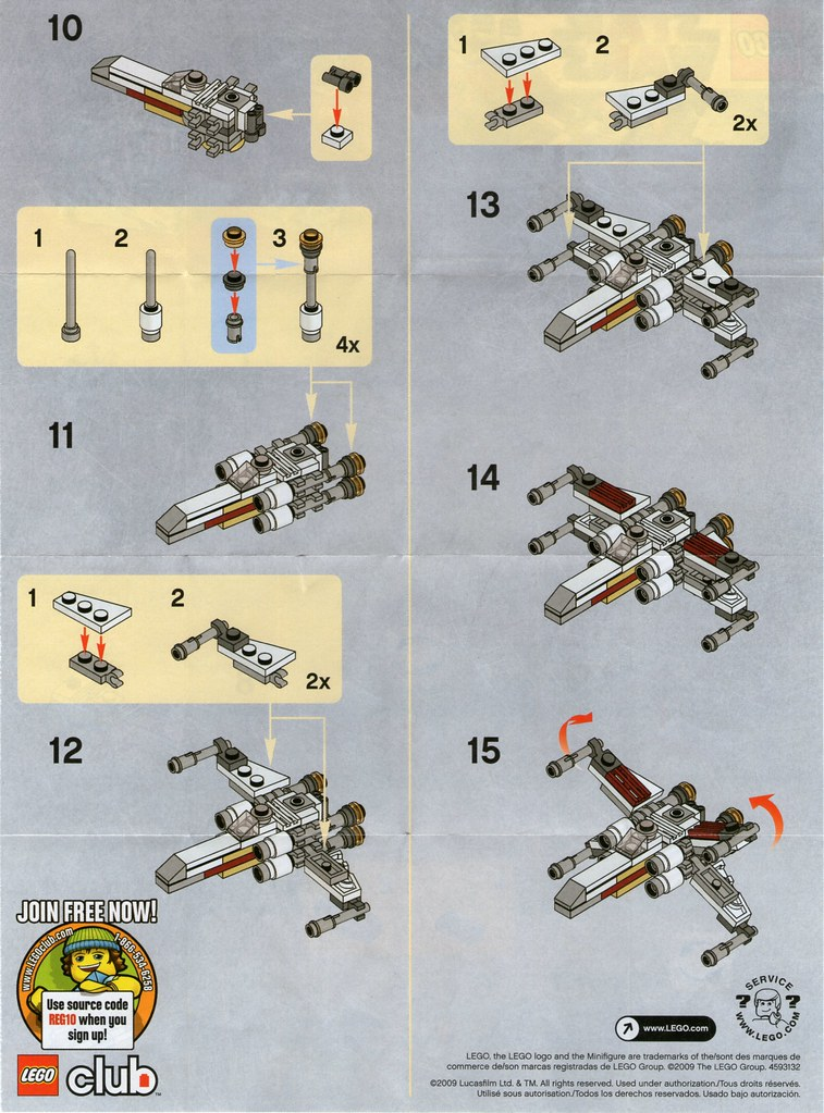 Lego Mini X Wing 30051 Instructions Page 2 A Photo On Flickriver