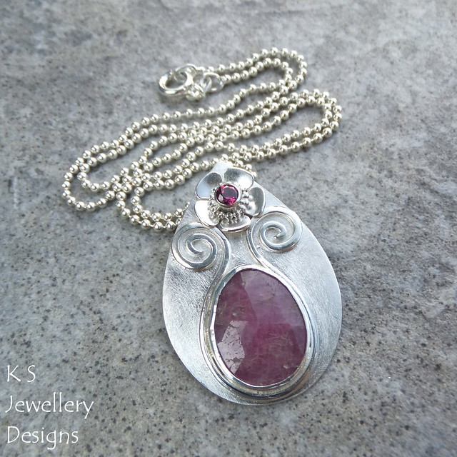 Pink Natural Sapphire and Rhodolite Garnet Flower & Vase Sterling Silver Pendant