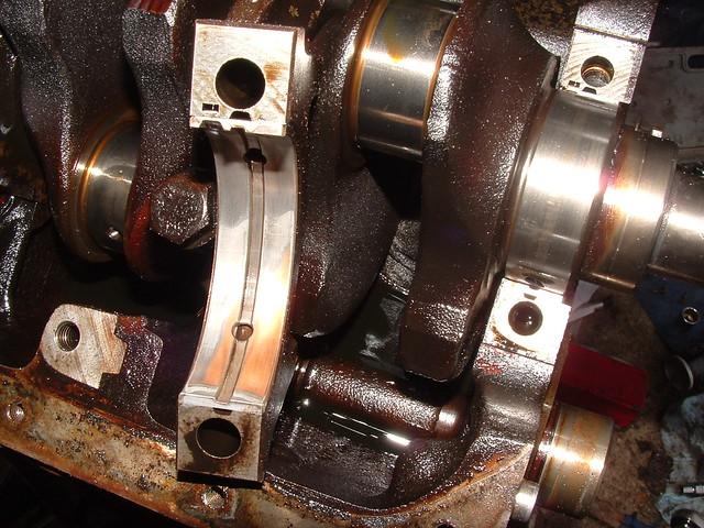 Worn Engine Bearings : Worn main bearing number one shell nearest