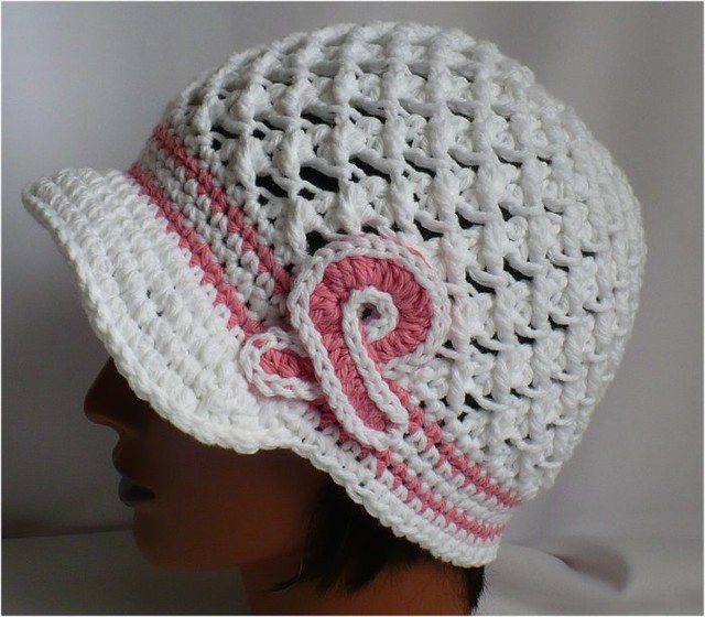 Crochet Hat Patterns Free Cancer Patients : Crochet Hat with brim- Breast Cancer awareness White ...