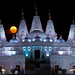 """Supermoon"" rises over BAPS Shri Swaminarayan Mandir"