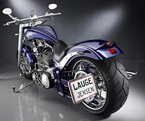 Dark blue Lague Jensen custom bike