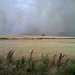 Combines were caught in a ring of fire but eventually got out