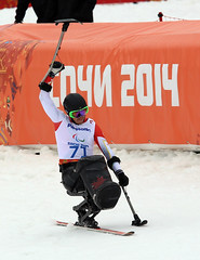 Josh Dueck celebrates a victory in the super combined at the 2014 Paralympic Winter Games in Sochi, RUS
