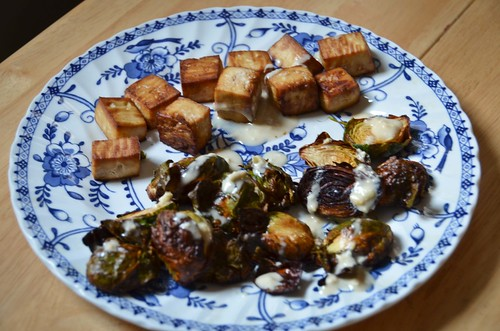 Tea-Roasted Tofu with Miso-Tahini Dressing