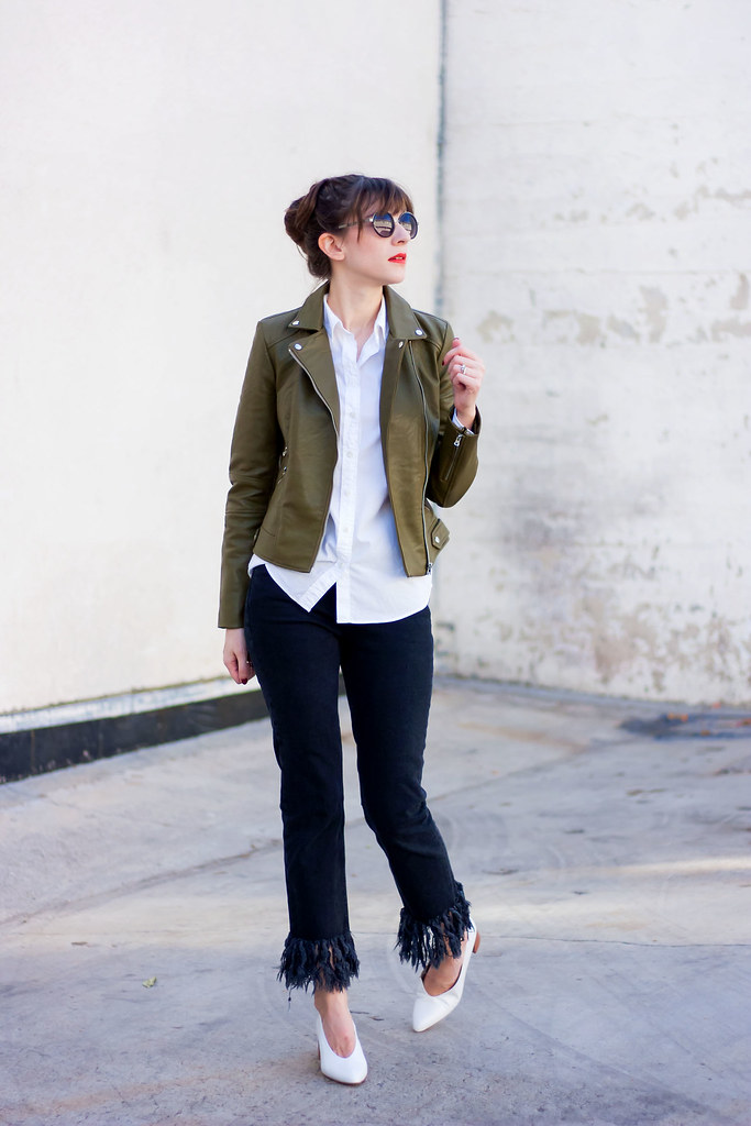 Olive Leather Jacket, Fringe Hem Jeans