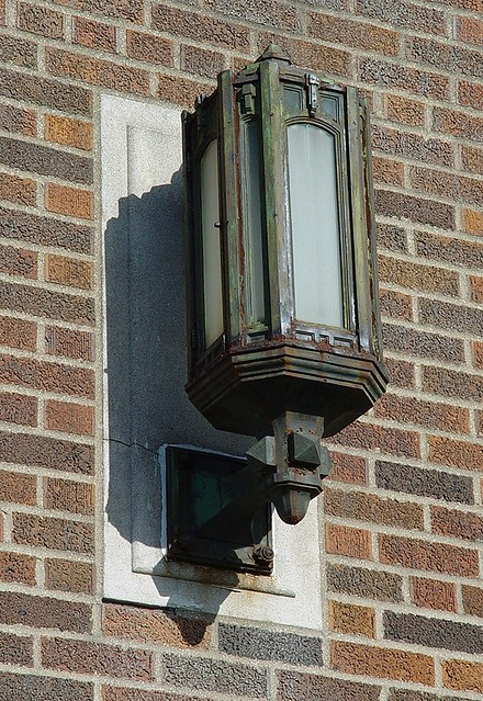 Old substation muskegon heights michigan son detail for Art deco exterior light fixtures