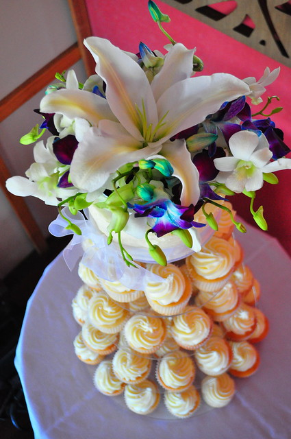 White and blue orchid wedding