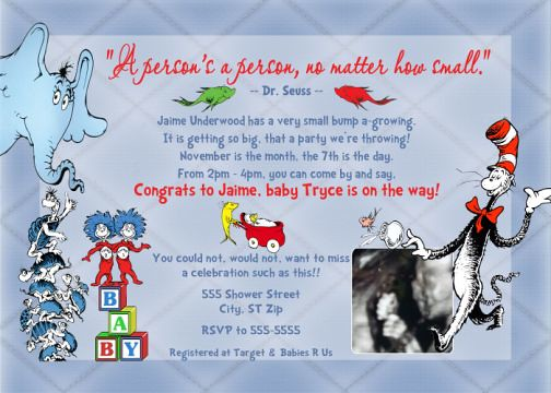Dr Seuss Cat in the Hat Baby Shower Invitation | Flickr ...