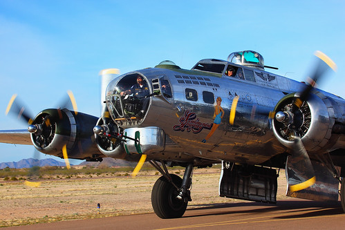 B-17 Sentimental Journey Taxiing for take off 2011 Cactus Fly In
