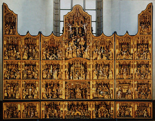 Dortmund, Westfalen, Petrikirche, altar, carvings, overview