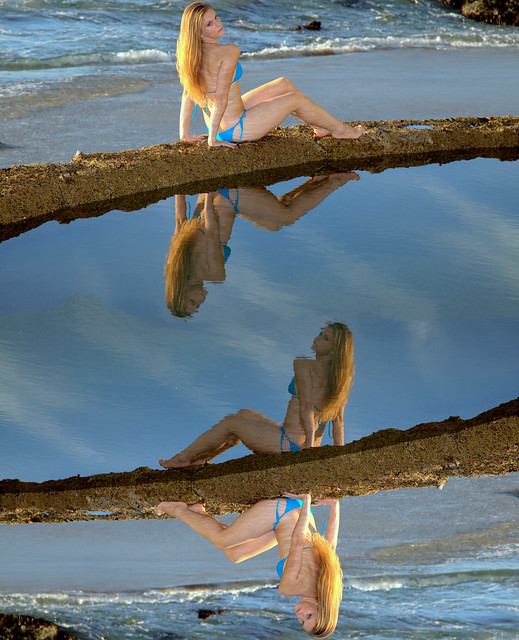Beautiful Swimsuit Bikini Model  Reflections Mirrored