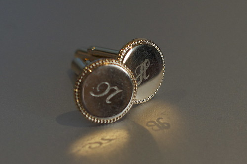 Cufflinks featuring a person's initials can make a lovely personalised engraved gift.