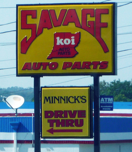 Savage Koi Auto Parts Sign