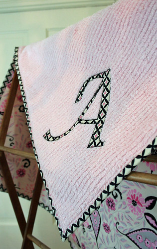 custom appliqued cotton chenille blanket
