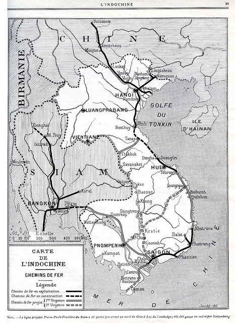 Situation du réseau des chemins de fers (1922) - Hệ thống đường sắt tại Đông Dương năm 1922
