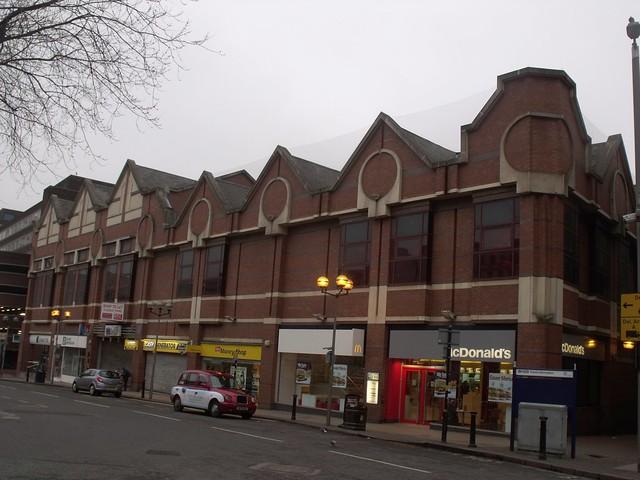 Shops in Dale End - Postmodern block