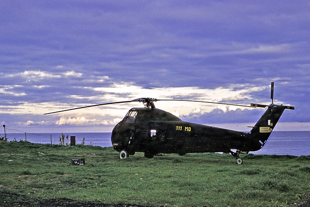Helicopter Sikorsky H-34 on standby at dawn. Algeria. Vintage Kodachrome, may 1962.