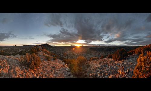 sunset panorama newmexico santafe southwest clouds canyon lacienega santaferiver