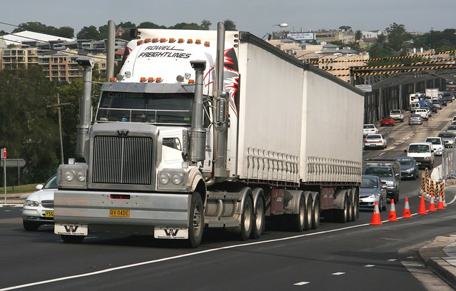 "Rowell Freightlines Western Star ""B Double"" QV-04DE in Victoria Road at Cary Street, Drummoyne, Sydney, N.S.W. Australia."