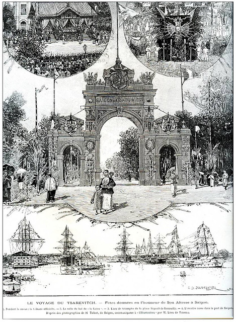 Đúng 120 năm trước, Thái tử nước Nga viếng thăm Sài Gòn ngày 21-3-1891 - Cổng chào tại Quảng trường Rigault de Genouilly (Công trường Mê Linh sau này)