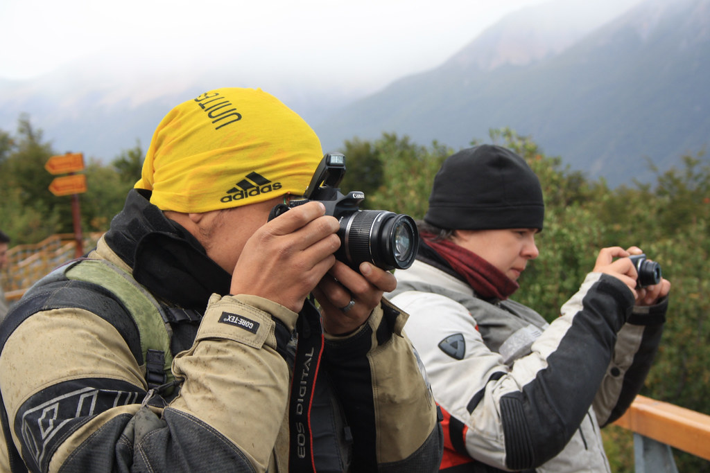 Dachary and Alberto shooting Perito Moreno Glacier