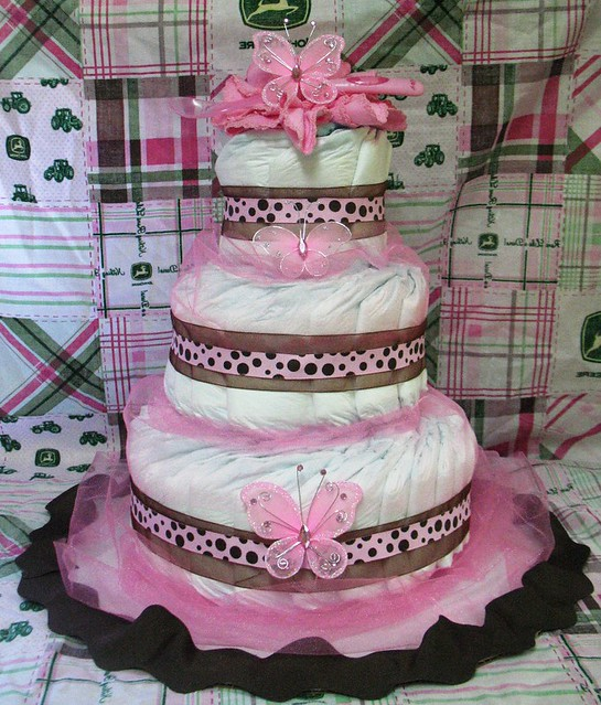 Pink Diaper Cakes For Baby Showers