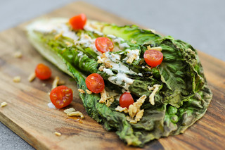 Grilled Romaine Salad with Spicy Ranch, Tomatoes, and Fried Onions
