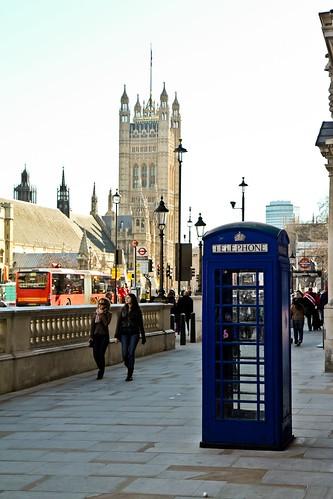 A bright blue telephone box!