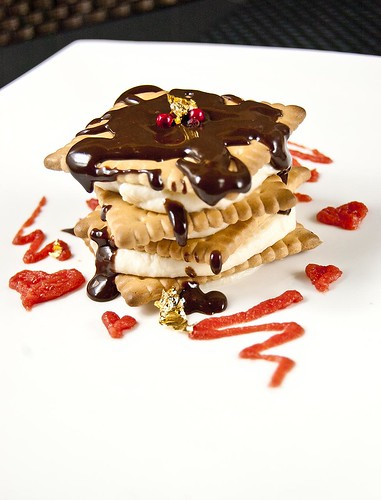 St. Valentine's Ricotta mousse tower with sweet-&-nutty tomato jam and a milk-chocolate ganache.