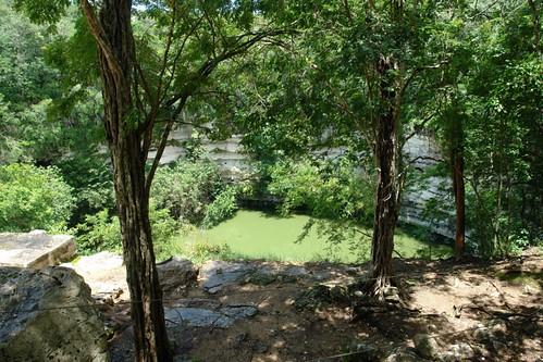 Cenote Sagrado donde se realizaban ofrendas al dios Chaac, señor de las lluvias, que consistían en objetos valiosos y la tradición dice que también sacrificios humanos, generalmente de doncellas nobles, ataviadas con ropas ceremoniales y enjoyadas. En el cenote también se sacrificaban prisioneros de alto rango, también como ofrenda religiosa. [object object] - 5462688332 a99ec77e00 - Chichén Itzá, el gran vestigio de la civilización Maya