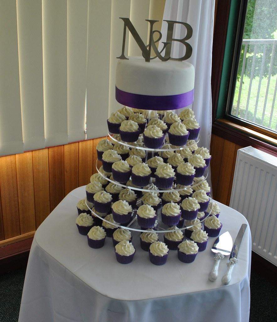 Wedding Cupcake Tower: Purple And White Wedding Cupcake Tower