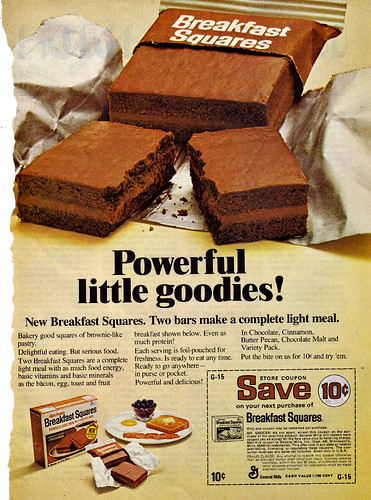 GENERAL MILLS :: Breakfast Squares - ' Powerful little goodies ! ' ; Save 10¢ (( 1974 ))