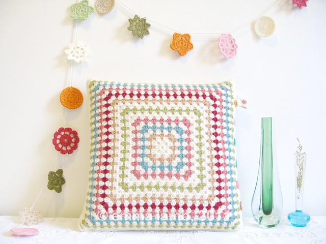 Miss Esme, crochet cushion by Emma Lamb