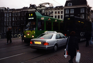 Trams and Taxicab, Amsterdam
