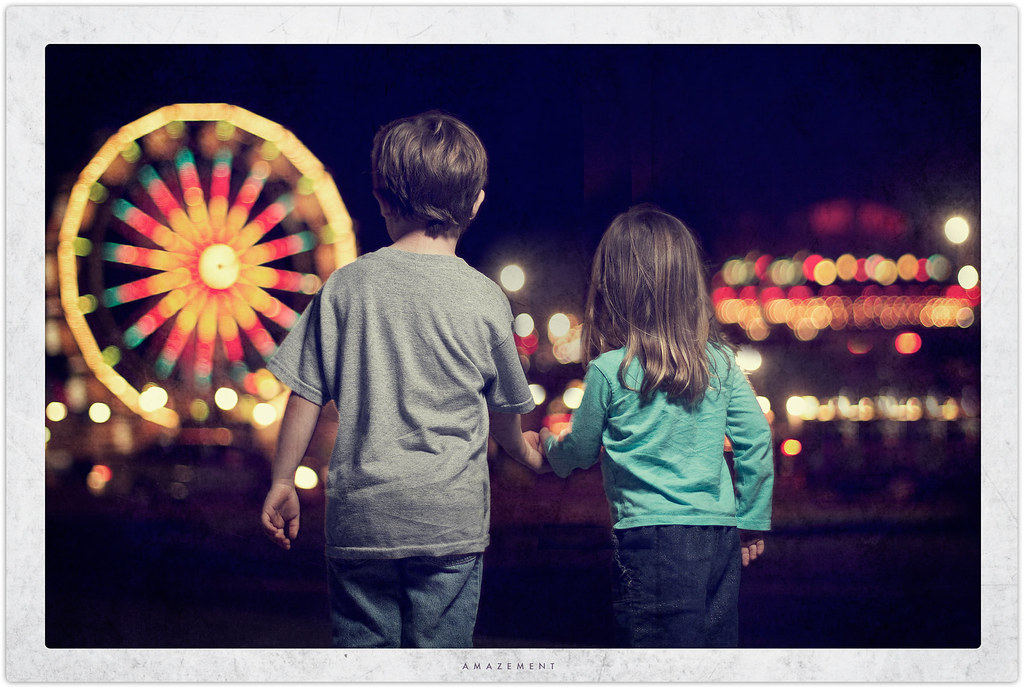 boy and girl at a carnival