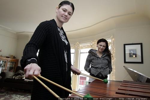 rachel tries the marimba