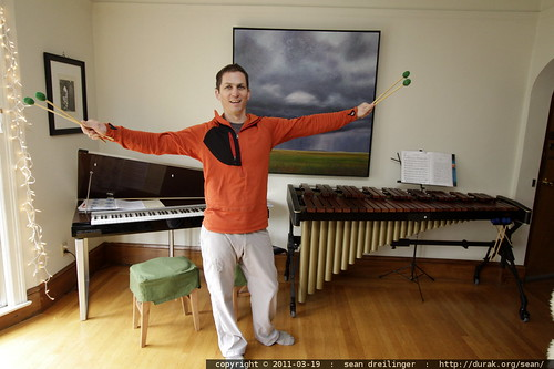 daniel in his living room w/electric piano and marimba