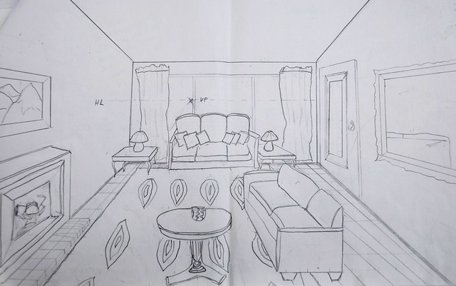 Drawing room living room drawings - One point perspective drawing living room ...