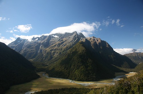 Routeburn Flats, the campsite is on the grass down there. Great spot.