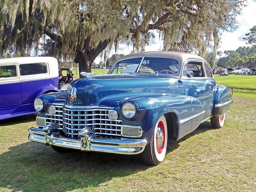 carshow car automobile cadillac coupe 1942 tree spanishmoss lecanto florida