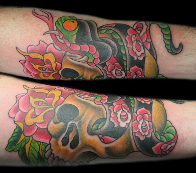 rose-snake and skull